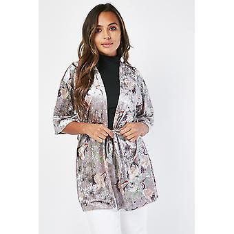 Orientálna tlač Velveteen Kimono