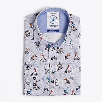A Fish Named Fred  - Multi Bird Print Shirt - Blue/Multi