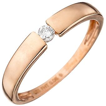 Damen Ring 585 Gold Rotgold 1 Diamant Brillant 0,08ct. Rotgoldring Diamantring  Größe:60