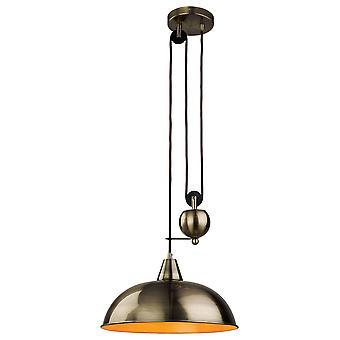 1 Light Rise & Fall Dome Ceiling Pendant Antique Brass, E27
