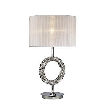 Ronde tafellamp met witte tint 1 licht gepolijst chroom, kristal