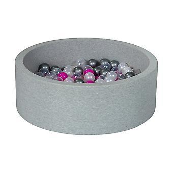 90 cm-es golyósgödör 200 gyöngyházgolyóval, átlátszó, lila és ezüst