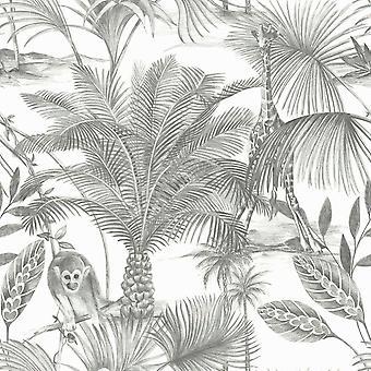 Kidatu Jungle Wallpaper Grey GranDeco JF3501