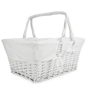 Willow Storage Basket with Cotton Lining | M&W White