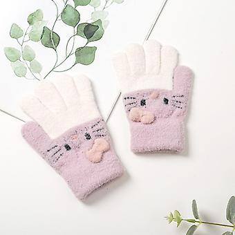 Children's Gloves Warm Soft Wool Full Finger Baby Boys Girls