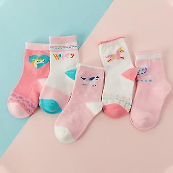 5 Pair Jacquard Cat Unicorn Rabbit Comfort Warm Cotton Kids Girl Baby Socks- Child Boy Newborn Socks