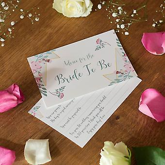 Geo Floral Advice for the Bride Cards, Bridal Shower Hen Party Game x 6