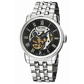 Gevril Men's 2691 Vanderbilt Automatic Black Dial Stainless Steel Wristwatch