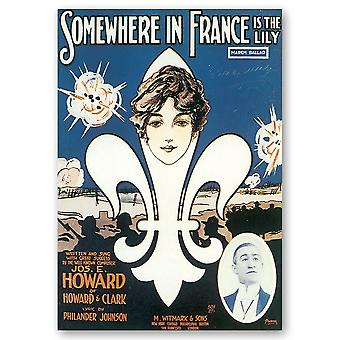 Vintage Music Cover Somewhere In France Is The Lily - Canvas Print, Wall Art Decor
