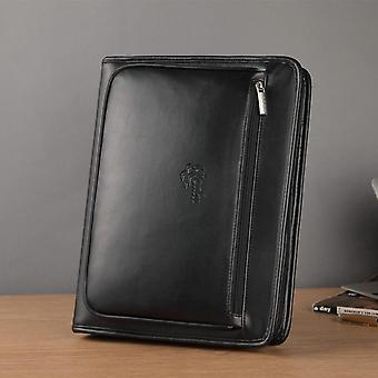 A4 Leather Expanding File Folder- Document Organizer Business Folder, Padfolio