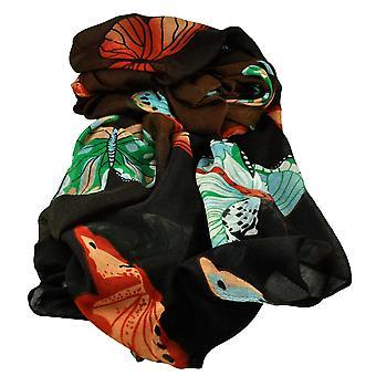 Ties Planet Butterfly Animal Print Brown & Black Lightweight Women's Shawl Scarf
