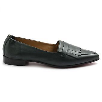 Alacsony Sangiorgio cipő zöld bőr Fringe