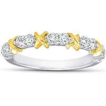 1/2Ct Diamond Wedding Womens Ring Two Tone Band 14k White & Yellow Gold