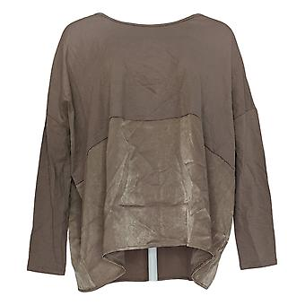 Anybody Women's Top Oversized Long Sleeve W/ Satin Trim Brown A367657