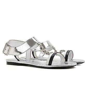 Prada women's flat sandals in silver laminated leather