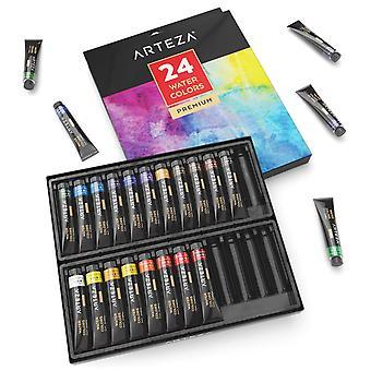 Arteza aquarelle premium artiste peint ensemble - 24 couleurs (24 x 12 ml/0,74 nous fl oz)