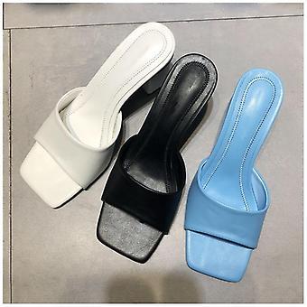 New Summer Outdoor Sandal, Square High Heel Slip On Flip Flop Elegant Women