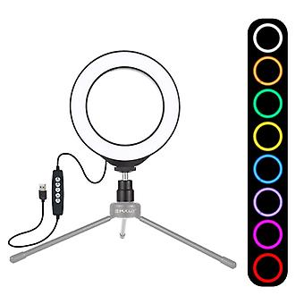 PULUZ 4.7 inch 12cm USB 10 Modes 8 Colors RGBW Dimmable LED Ring Vlogging Photography Video Lights with Cold Shoe Tripod Ball Head(Black)
