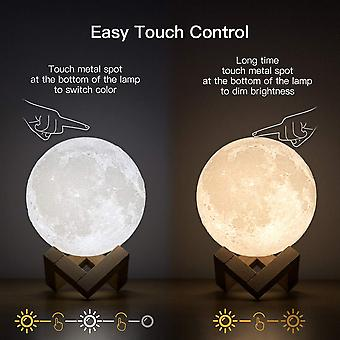 Rechargeable 3D Print Moon Lamp USB LED Night Light Creative Touch Switch Moon Light For Bedroom Decoration Birthday