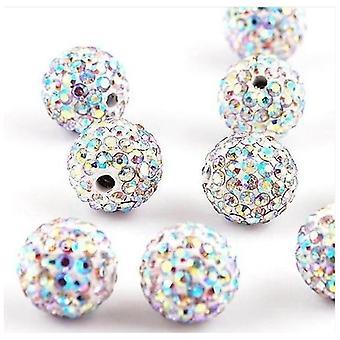 10 Pcs Wholesale 10mm Aurora Boreale Shamballa Crystal Pave Clay Disco Ball/beads Czech