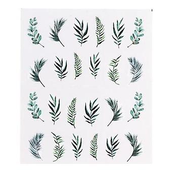 Perhonen, kukka, sulka, lehti ja ruoho kuvio tarra kynsitaidetta