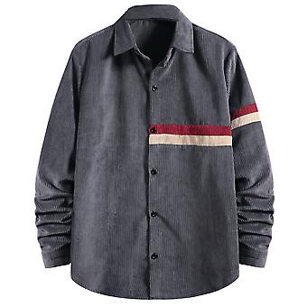 Yunyun Men's Autumn Winter Button Down Corduroy Lightweight Stripe Casual Shirt