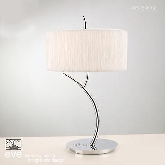 Mantra Eve Grande lampe de table en chrome avec l'ombre ronde blanche