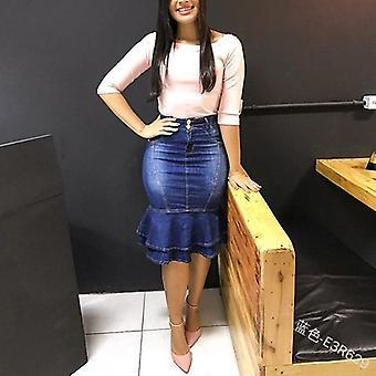 Casual Denim Rock Frauen's hohe Taille Rüschen Hip Slim Slimming Rock