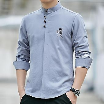 Shirt Casual 100% Cotton,  Traditional Male Mandarin Collar & Solid Kung Fu