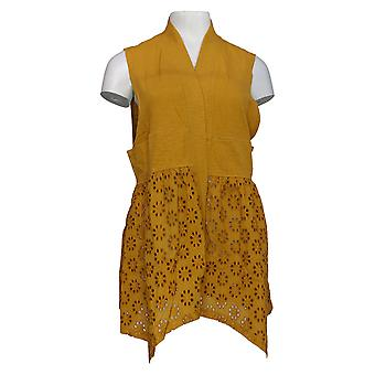LOGO by Lori Goldstein Women's Sweater Vest Eyelet Details Yellow A346697