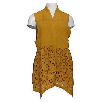 LOGO par Lori Goldstein Women's Sweater Vest Eyelet Details Yellow A346697