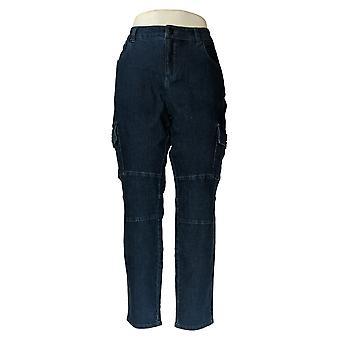 G.I.L.I. Women's Pants Regular Indigo Denim Cargo Jegging Blue A347878