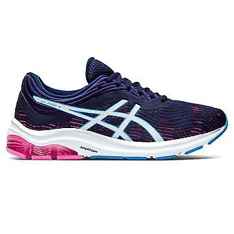 Asics جل نبض 11 السيدات البالغات تشغيل اللياقة البدنية مدرب حذاء أزرق / أبيض