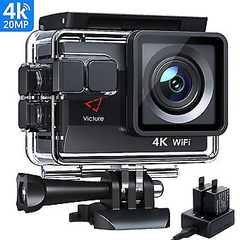 Victure ac800 action camera 4k 20mp wifi eis waterproof 40m underwater camcorder dual-battery charge