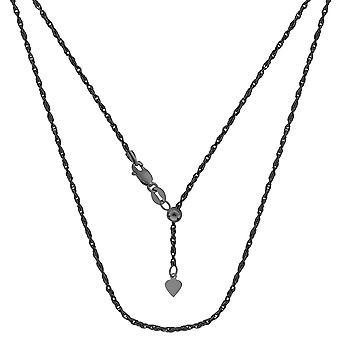 "Sterling Silver svart rutenium-Plated 22"" glidande justerbar Rope Chain halsband, 1,5 mm"