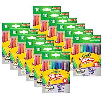 Mini Twistables Crayons, 10 por paquete, 12 paquetes