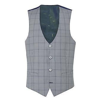 Lazio Blue Check Suit Waistcoat