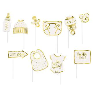 Photo Props Baby From Hello 12 Cm White / Gold 10 Pieces