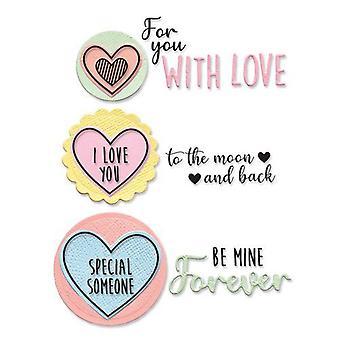 Sizzix Framelits Die Set - 8pk W/Stamps - Love Hearts 665066 Olivia Rose