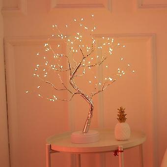 108 Led usb lámpara de mesa de cobre alambre de navidad árbol de fuego lámpara de mesa de luz nocturna lámpara de escritorio casa decoración de escritorio decoración de Navidad