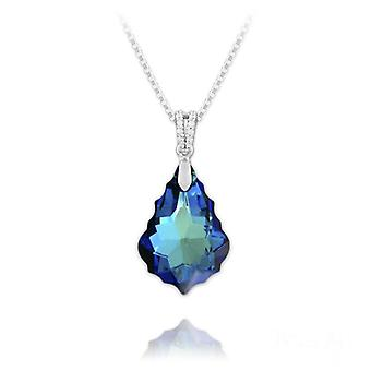 Silver bermuda blue baroque crystal drop necklace