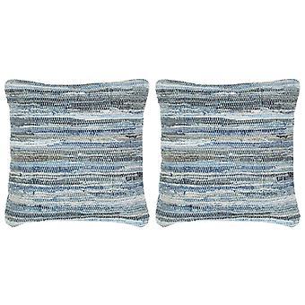 vidaXL وسادة 2 pcs. دينيم شيندي الأزرق 45 × 45 سم القطن