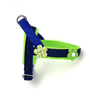 Summer Neon & Green Floral Denim Dog Harness