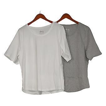 Denim & Co. Women's Top Essentials Jersey Set de 2 Cinza / Branco A378932