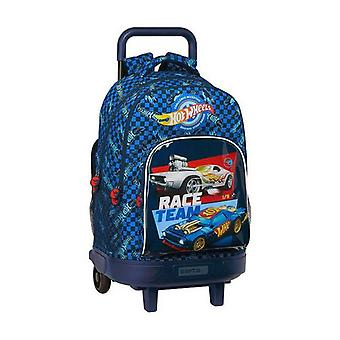 School Rucksack with Wheels Compact Hot Wheels Blue