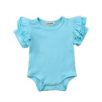 Yndig toddler baby romper, kort ærme, solid buksedragt, O-hals outfits