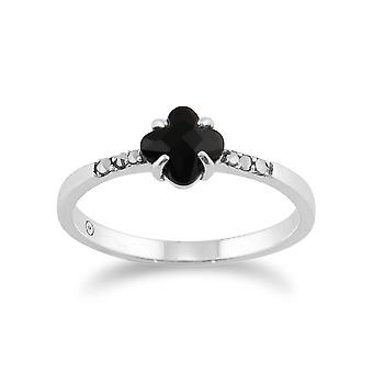 Floral Square schwarz Onyx & Marcasite Ring in 925 Sterling Silber 214R485201925