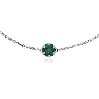 Gemondo 9ct vitguld 0.38ct Emerald & blommiga kluster 19cm armband