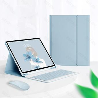 """ABEIFAN Keyboard Cover for iPad 10.2 """"(2019) with Wireless Mouse - QWERTY Multifunction Keyboard Bluetooth Smart Cover Case Sleeve Blue"""