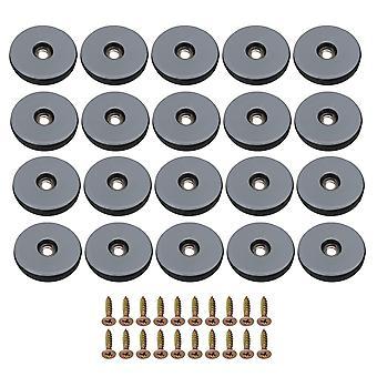 20 Pcs Round Furniture Glides Sliders with Screws for Carpet Hardwood